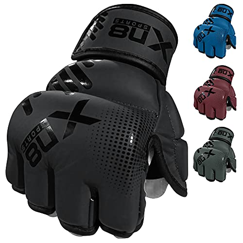 XN8 MMA Gloves Boxing Training| Sparring Fight Grappling Mitts With Open Palm- For Cage Fighting-Combat Sports- Punching bag-Muay Thai & Kickboxing L