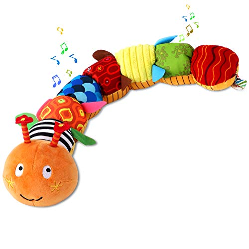 ZUCOOP Baby Toys Musical Caterpillar with Built-in Ring Bells Multicolor Infant Stuffed Toy with Hook Design Educational Toddler Plush Toy for Newborn, Preschool Boys and Girls