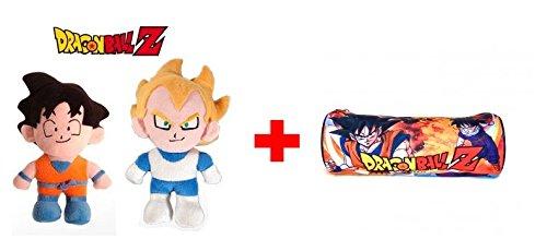 "DRAGON BALL: Pack de 2 Peluches: Son Goku super soft 33 cm e Vegeta super soft 35 cm + 1 astuccio DRAGON BALL 8,66""/22cm."