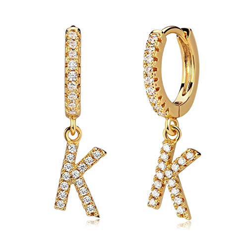 MYEARS Women Gold Huggie Hoop Earrings Ear Stud Cuff Initial K Dangle Drop Diamond Cubic Zirconia 18K Gold Filled Small Simple Delicate Hypoallergenic Personalized Jewelry Gift