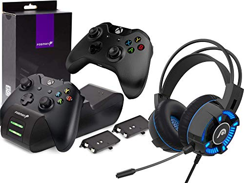 Fosmon Dual Controller Charger with 2 Rechargeable Batteries and Gaming Headset with Mic Compatible with Xbox One/One X/One S Elite (Not for Xbox Series X/S 2020) Controllers