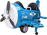 TOBBI 12V Airplane Style Electric Kids Ride on Car Toy for Aged 3-6, 360 Degree Rotate by 2 Joysticks Control/ Remote Control, Blue