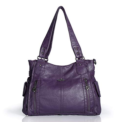 Handbag Hobo Women Shoulder Bag/Handbag Roomy Multiple Pockets Fashion PU Tote, Purple