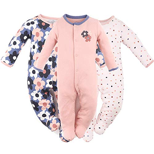 Baby Girls Footed Pajamas 3-Pack Cotton Infant Overall Sleeper and Play 9-12M