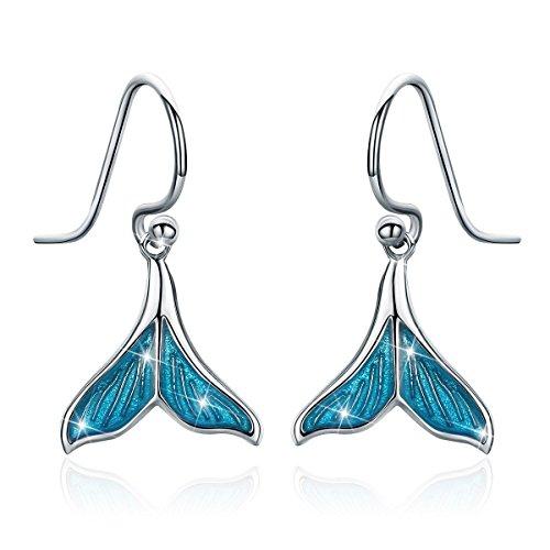 Mermaid Tail Drop Dangle Earrings, 925 Sterling Silver Ocean Sea Whale's Tail Earring for Women (Mermaid Tail Drop Dangle Earrings)