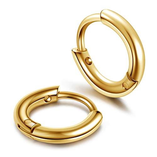 JSDDE Piercing 2/16 Stücke Chirurgenstahl Creolen Ohrringe Hoop Ring Septum Tragus Helix Ohrpiercing Huggie Kreolen Ohrringe 6mm Gold