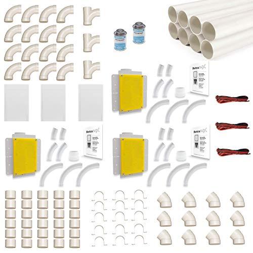 Zentralstaubsauger Einbau-Set für Retraflex inkl. Vakuumrohren und Installationsmaterial - für 3x Retraflex mit einer max. Schlauchlänge von 12.2 Meter