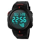 FeiWen Grande Número Simple Relojes de Pulsera de Hombre 50M Impermeable Multifuncional Electrónica Deportivo Digitales Outdoor Militar Reloj Plástico LED Luminosidad