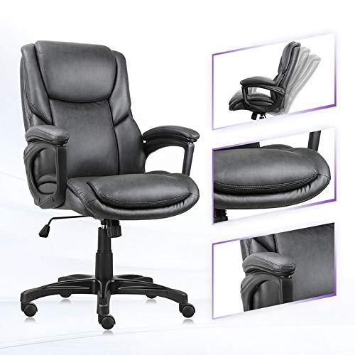 PU Leather Executive Office Chair,Ergonomic Computer Chair Swivel Mid Back Modern Desk Chair with Casters Height Tilt Adjustable Upholstered Armchair Rollerblade Stool, 360 Rolling Thick