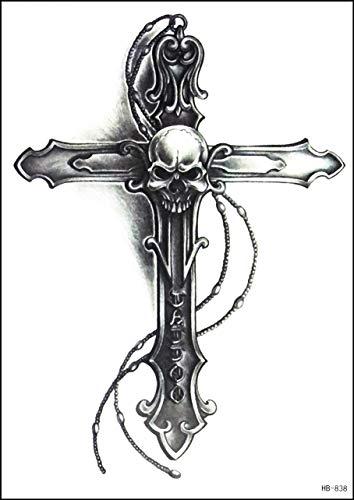 GS912 Tattoo 8,2 x 5,7 Zoll keltisches Kreuz Schädel Geist große temporäre Tattoos 3D Body Arm Tattoo American Old School Aufkleber für Männer Frauen Fake Tattoo (14)