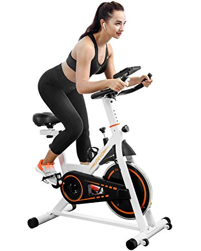 Indoor Cycling Bike Stationary,UREVO Exercise Bike for Home Gym Cardio Bike Fitness Training Bike with Comfortable Seat Cushion,Slient Belt Drive Floor Mat