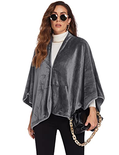 Ekouaer Cape Wraps for Women Lightweight Winter Cardigans Office Blankets Cozy Ponchos with Pockets Grey Large