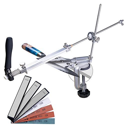 Messerschärfer-Set RX-008, professionelles Messerschärfsystem, 360 ° Flip-Design, drehbarer fester Winkel, Küchenchef-Messerschärfer-Set, Schleifmittel für 4 Schleifsteine + 3 Diamantsteine