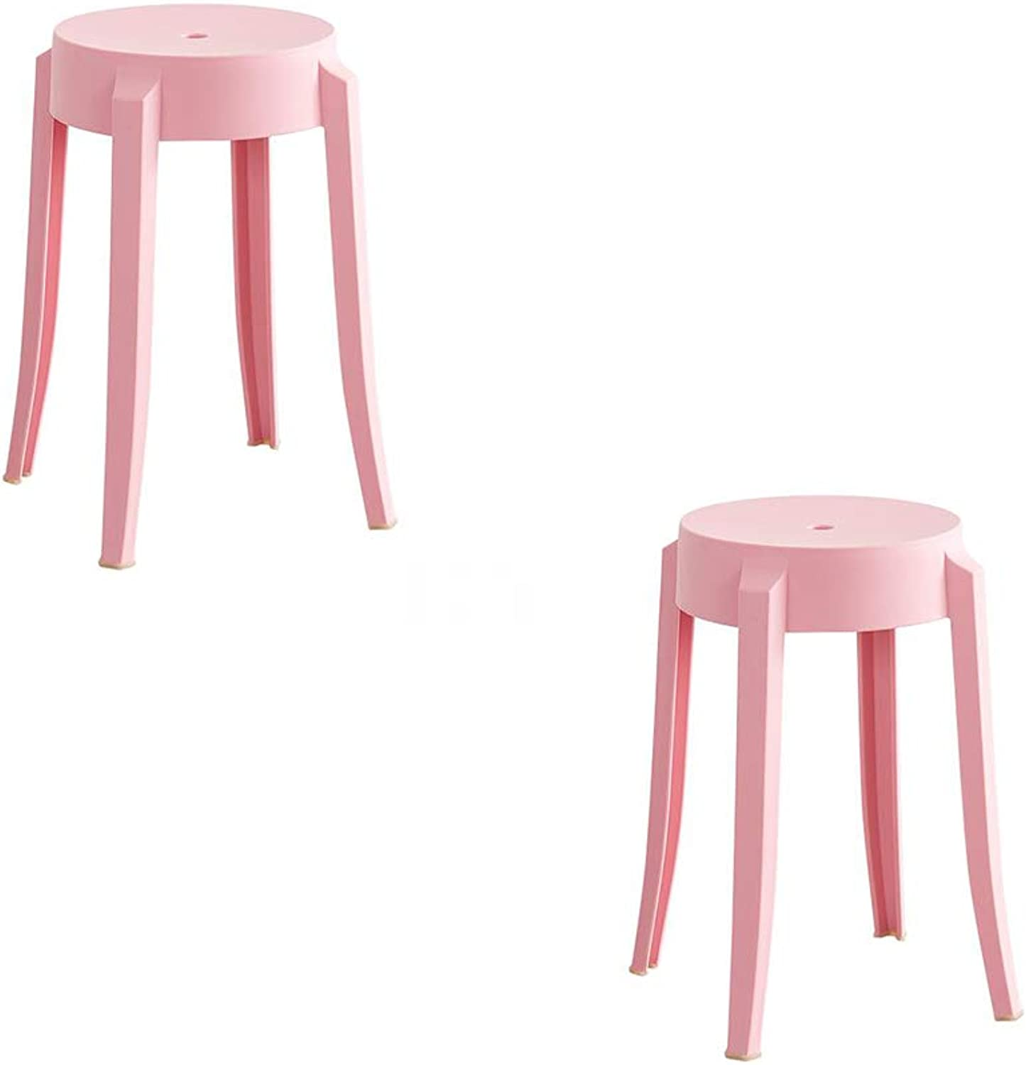 Round Stool, Home Fashion Creative color Plastic Chair, Thick Adult, Living Room Small Bench, Dining Room, High Dining Table Stool,Pink