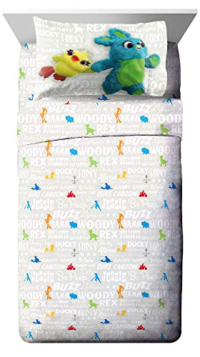 Disney Pixar Toy Story 4 All The Toys Full Sheet Set - 4 Piece Set Super Soft and Cozy Kid's Bedding Features Woody & Buzz Lightyear - Fade Resistant Microfiber Sheets (Official Disney Pixar Product)