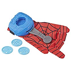 Includes glove, web-disc blaster and three web discs Load discs into the Blaster to send Webs spinning Gear up like Spider-Man Glove is one size fits most