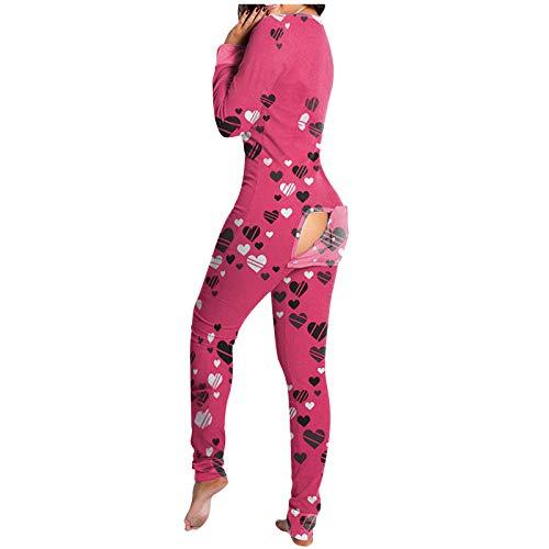 Fossen MuRopa Pijama Mujer Sexy Pijama Hombre Invierno de Solapa del Botón de Parche Color Sólido, Ropa Interior Mujeres Mono Polar (Amor~b, M)