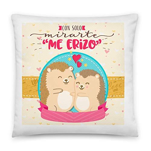 Kembilove Cojines para Parejas – Cojín para el sofá con Colores únicos y Mensaje con Solo Mirarte Me Erizo – Cojines para Parejas con Frases Divertidas – Regalo Ideal para San Valentín