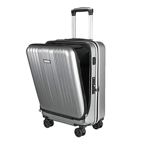 Cabine koffer reistas met handbagage met voorvak voor computer en USB-poort Handige oplaadtrolleykoffer Grijs