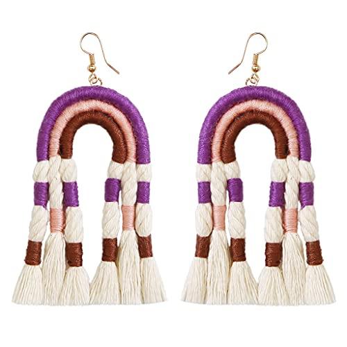 gulang-keng - Pendientes clásicos Hechos a Mano para Mujer, Pendientes Colgantes inusuales de arcoíris Tejidos, joyería Retro Personalizada, Regalo, Recuerdos de Viaje de San Valentín