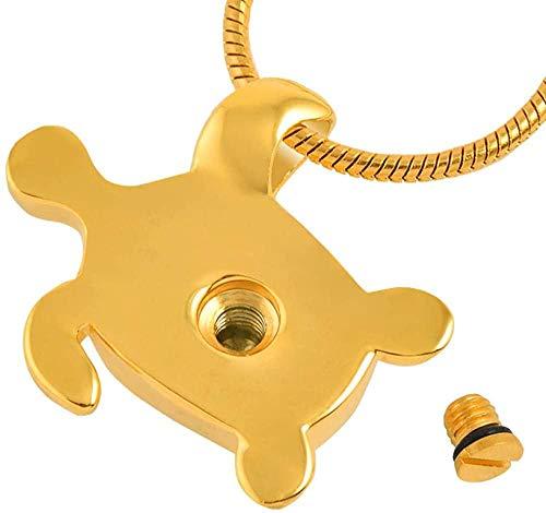 OPPJB Urna para Cenizas Colgante De Cremación Collar De Medallones Urna De Cenizas Animal Forma De Tortuga Colgante De Acero Inoxidable Recuerdo Memorial-B