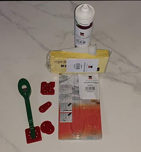 Fliesen-Reparatur-Set aus modifiziertem Silikon Polymer (Epoxid), Anthrazit + Spezialschwamm + Multifunktions-Rakel