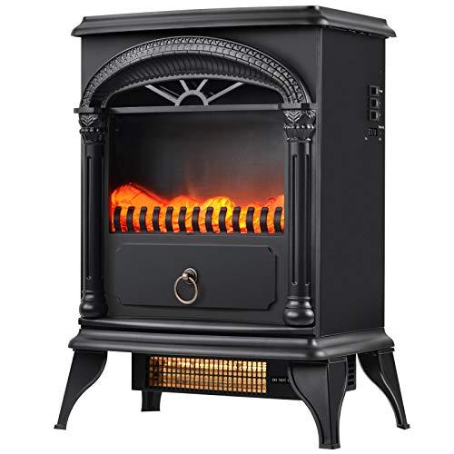 Sunmery Chimenea eléctrica con calefactor con efecto de llama LED, 2 niveles de calor, fuego realista 3D, estufa eléctrica independiente