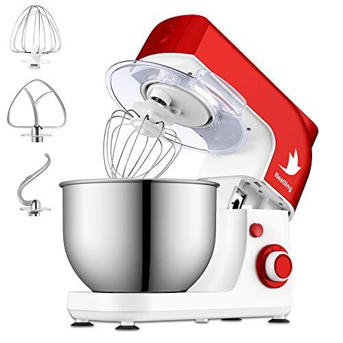 Nestling 800W Küchenmaschine, 5L Knetmaschine mit Edelstahl-Rühlschüssel, Rührbesen, Knethaken, Schlagbesen, Spritzschutz, 6 Geschwindigkeit mit Edelstahlschüssel Teigmaschin - Rot und Weiß