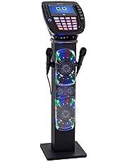 """auna KaraBig Torre de Karaoke - Juego de Karaoke , Display TFT 7"""" a Color , Reproductor CD+G , Interfaz Bluetooth , USB , Salida de Audio y vídeo , Efectos de luz LED , 2 Micrófonos dinámicos , Gris"""