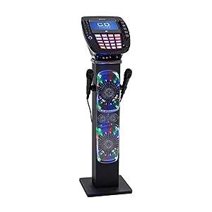auna KaraBig – Karaoke Anlage, Karaoke Player, Karaoke Set, Turmlautsprecher, Bluetooth, 2 x Mikrofon, CD+G-Player, USB-Port, Aufnahmefunktion, LED-Effekte, Tablethalterung grau