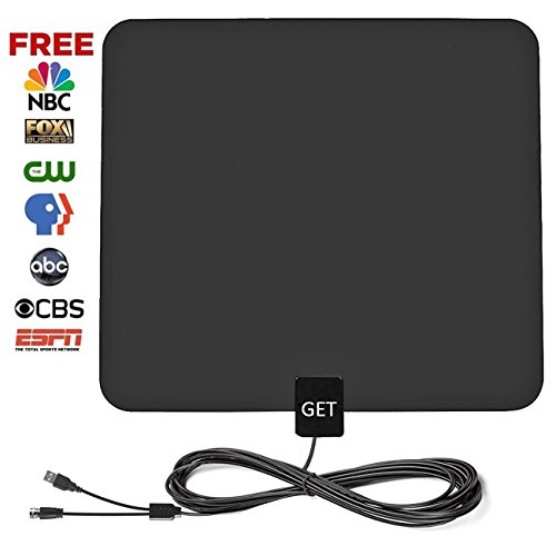 GET Amplified Digital HDTV Antenna 50~75 Mile Long Reception Range 13.2ft High Reception Coax Cable(2018 Upgraded Version)