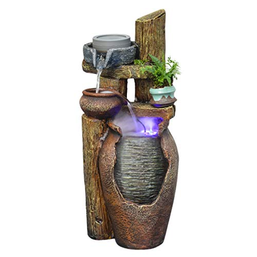 Zlw-shop Indoor fountain Outdoor Indoor 3-Tier Jar Waterfall Fountain Floor Fountain with LED Light- 24.4' Stone Bowl Outdoor Water Feature for Gardens and Patios sprayer (Color : B)