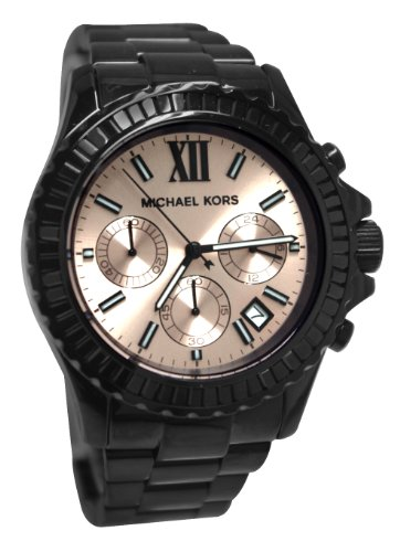 Michael Kors Everest Chronograph Peach Dial Black Ion-plated Ladies Watch MK5872
