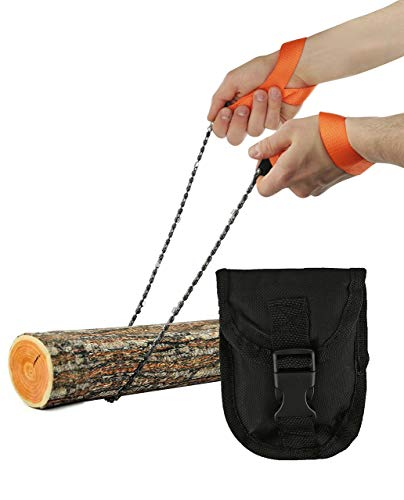 """Pocket Chainsaw - Razor Sharp Self Cleaning 25.5 In Portable Hand Saw Survival Gear with Black Holster for Camping, Hunting, Hiking   Pocket-sized 25.5"""" Emergency Wilderness Survival Chain Saw"""