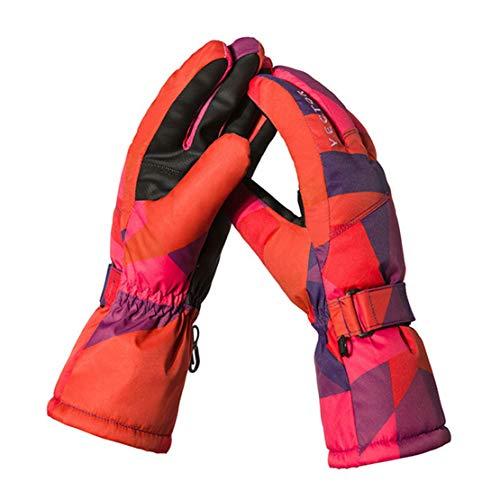 Femme Gants de Ski Gants de Moto Mitaines Impression Chaudes Imperméables Coupe-Vent en Plein Air Hiver de Haute Qualité pour Sports de Plein Air,Orange,M
