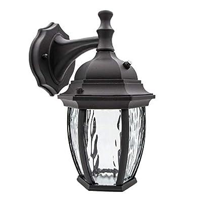 Maxxima LED Outdoor Wall Light, Black w/Clear Water Glass, Photocell Sensor, 580 Lumens, 3000K Warm White, Dusk to Dawn Light Sensor