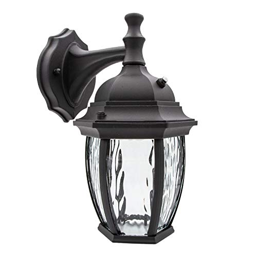 Maxxima LED Outdoor Wall Light, Black w/Clear Water Glass, Photocell Sensor, 580 Lumens, 3000K Warm White, Dusk to Dawn Light Sensor