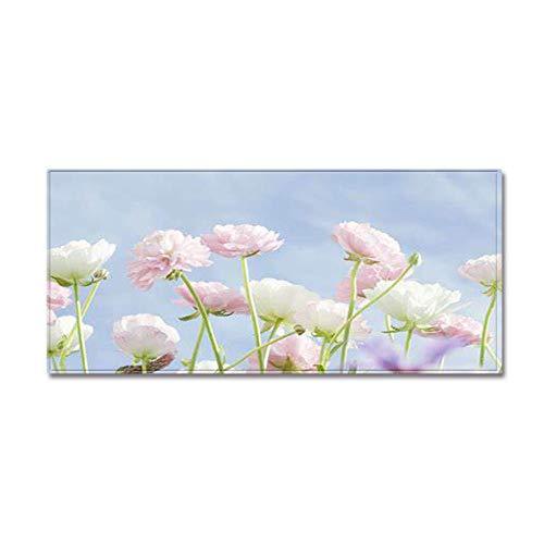 Alfombra de cocina moderna, antideslizante, antideslizante, diseño de flor rosa, azul, antideslizante, para cocina, oficina, sala de estar, dormitorio, baño, 60 x 90 cm