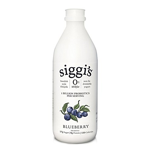 Siggis Non-Fat Drinkable Yogurt, Blueberry, 8 Ounce (Pack of 12)