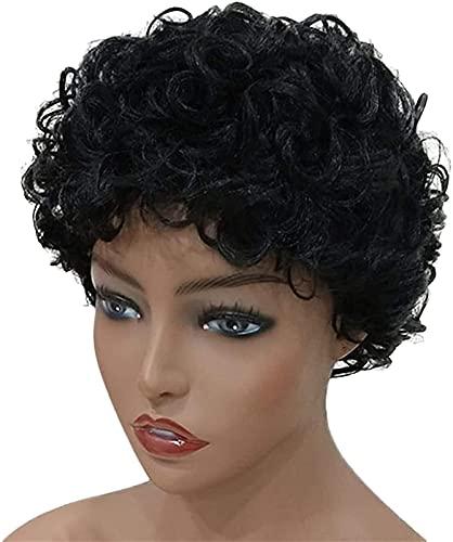 PIAOLIGN Peluca de pelucas de moda para mujer, peluca corta y rizada, color negro, adecuado para todos los días
