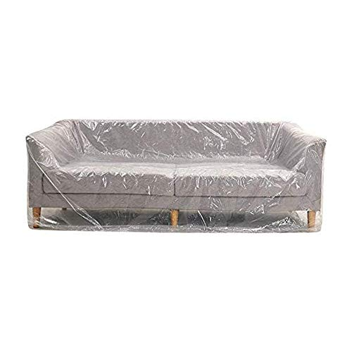 2 PACK Furniture Cover Plastic Storage Bag Extra Large Couch Cover Heavy Duty Water Resistant Sofa Slipover Transparent Bed Couch Protector Dust Cover for Moving Long Term Storage, 118 x 78inches