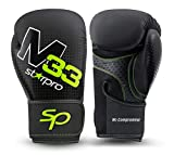 Starpro M33 Single Shell Guantes de Boxeo |Cuero sintético Mate| Negro y Verde |para Entrenamiento y Sparring en Muay Thai Kickboxing Fitness and Boxercise|Hombres y Mujeres| 8oz 10oz 12oz 14oz 16oz