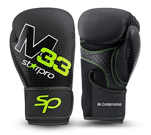 Starpro M33 EINSTÜCKIGE Boxhandschuhe | Mattes Kunstleder | Schwarz & Grün | Für Training und Sparring in Muay Thai Kickboxen Fitness und Boxen | Männer & Frauen | 8oz 10oz 12oz 14oz 16oz