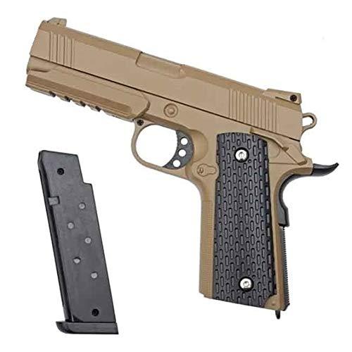 KOSxBO® 1911 Airsoft Gun Softair Pistole mit Munition - G25D braun Vollemtall Profi - 20cm Inkl. Magazin - Ab 14 Jahren <0,5 Joule, FDE