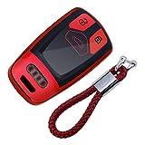 Carcasa Llaveros 3 Botones para Coche A1 A3 S3 A4 S4 A5 S5 A6 A7 Q3 Q5 Q7 TT Cover Case Protecci/ón Remoto Mando Auto Rojo kaser Funda Silicona para Llave Audi
