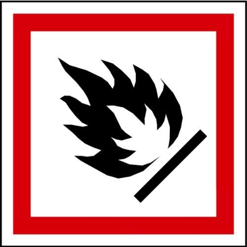 Aufkleber GHS 02 Gefahrensymbol Flamme Folie 100 x 100 mm (Sicherheitshinweis) praxisbewährt, wetterfest