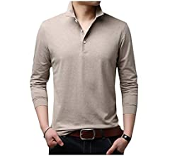 DressUMen Button Cotton Leisure Denim Lapel Long-Sleeve Top Tshirt Shirt