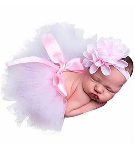 HENGSONG Rosa Foto Fotografie Outfits Baby Kostüm Tütü Rock Pettiskirt Mädchen Blumen Stirnband (Größe 1)