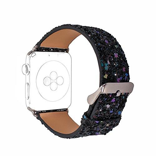Für Apple Watch Armband 42mm, Rosa Schleife Apple Watch Series 3 Uhrenarmband Glitzer Leder Bands Shiny Ersatzband mit Schließe für Apple Watch 42mm alle Version Schwarz