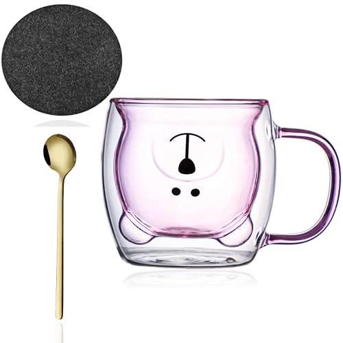 Doppelwandige Tee Gläser Kaffeetasse mit Löffel & Untersetzer Bär Kaffeebecher Lustige Tassen Thermogläser Transparente Isoliergläser Cappuccino Gläser Teetasse Espressotassen für Weihnachten